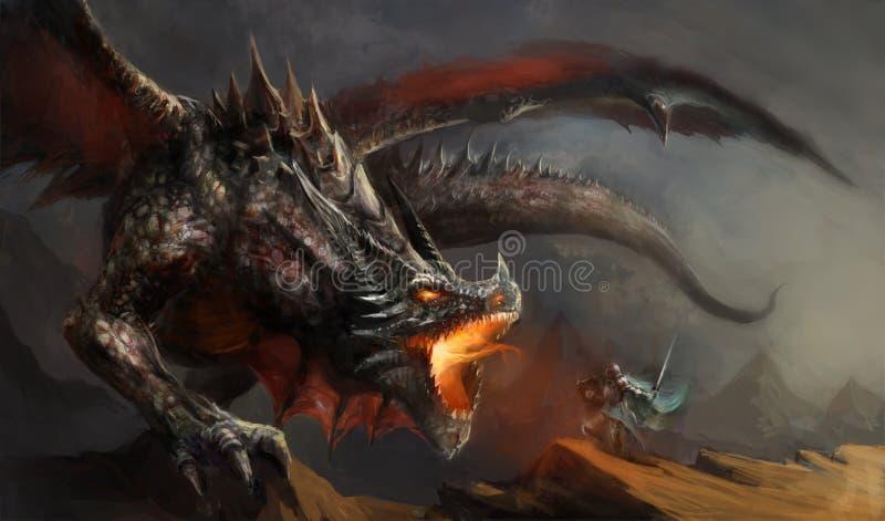 Dragón que lucha del caballero ilustración del vector
