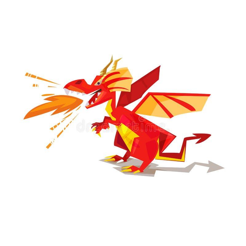 Dragón rojo con poder de fuego diseño de carácter - vector stock de ilustración