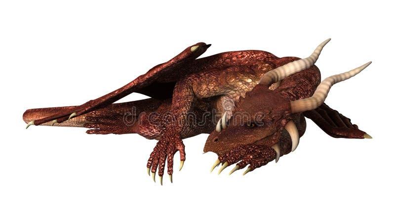 dragón rojo de la fantasía del ejemplo 3D en blanco ilustración del vector