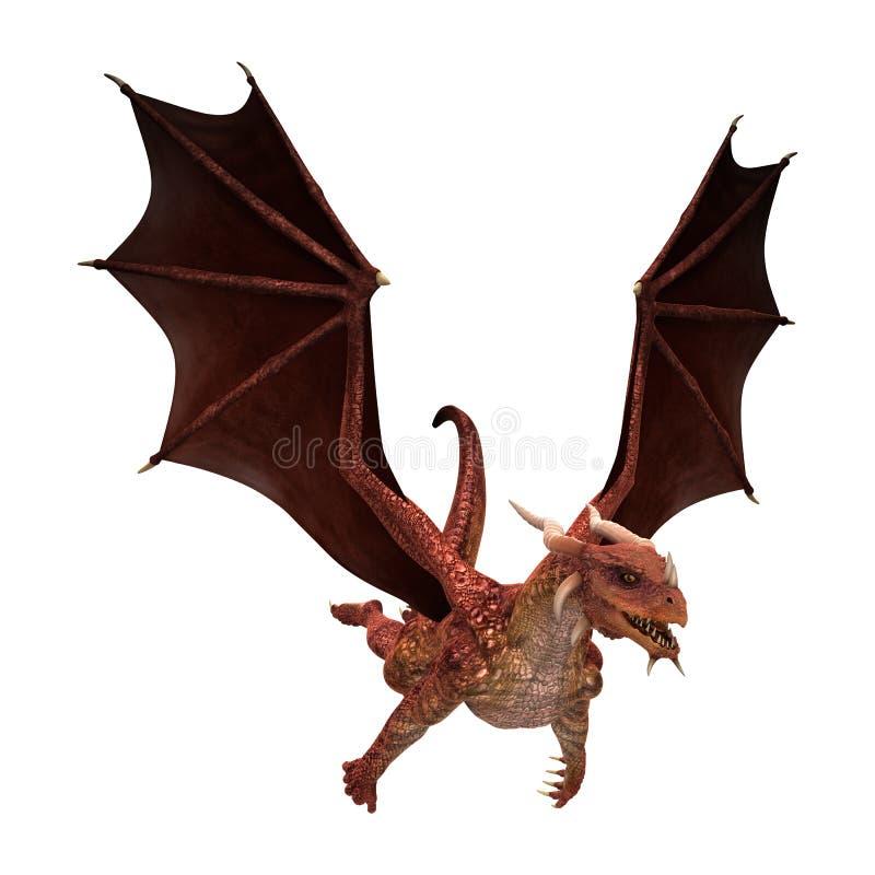 dragón rojo de la fantasía del ejemplo 3D en blanco stock de ilustración