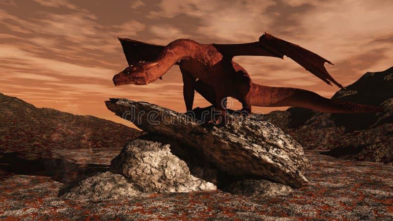 Dragón rojo en un flujo de lava libre illustration