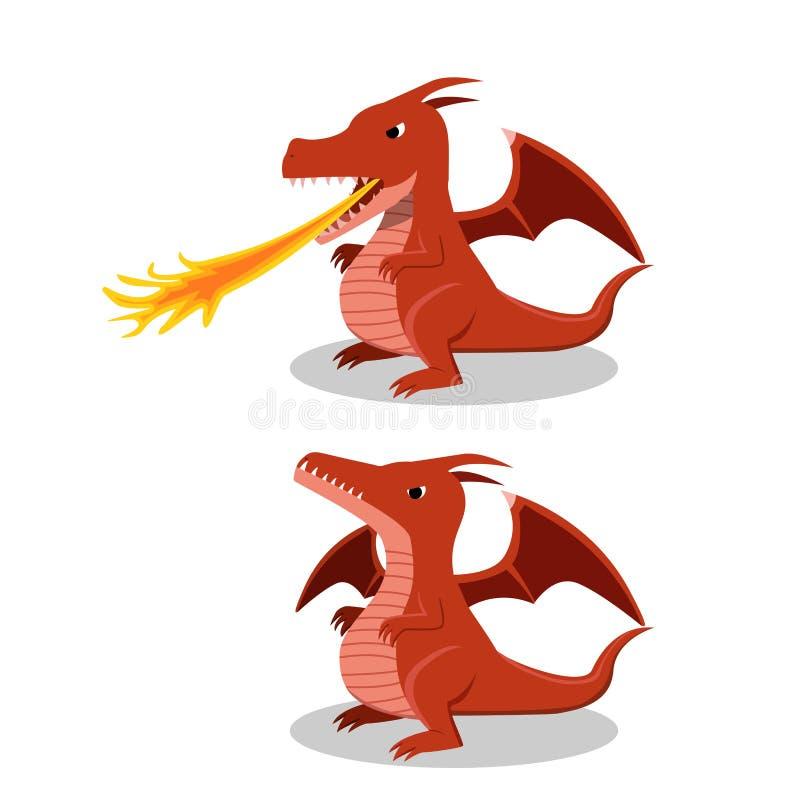 Dragón rojo enojado con la respiración del fuego, vector de la historieta stock de ilustración
