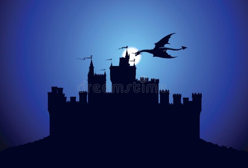 Dragón sobre el castillo medieval ilustración del vector
