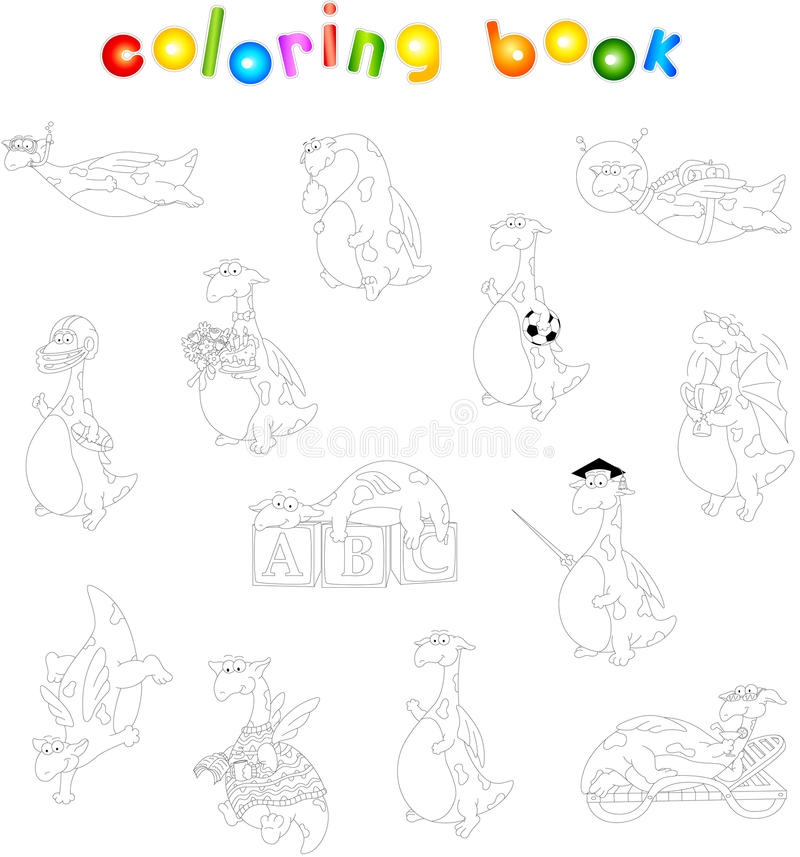 Dragón verde de la historieta stock de ilustración