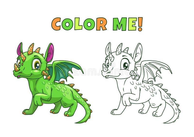 Dragón verde de la historieta linda stock de ilustración