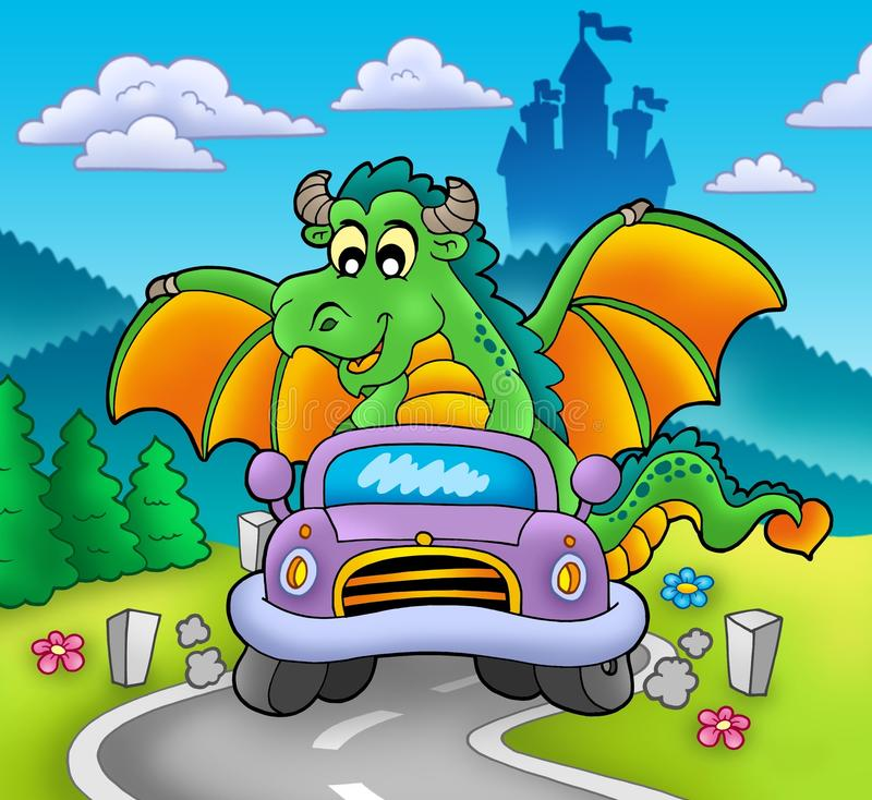 Dragón verde que conduce el coche stock de ilustración