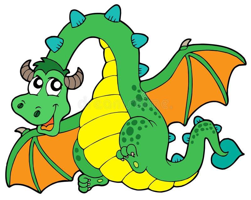 Dragón verde que vuela libre illustration