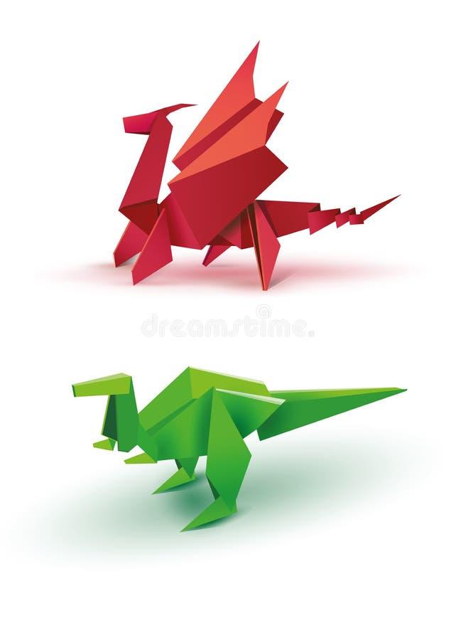Dragón y dinosaurio de la papiroflexia ilustración del vector