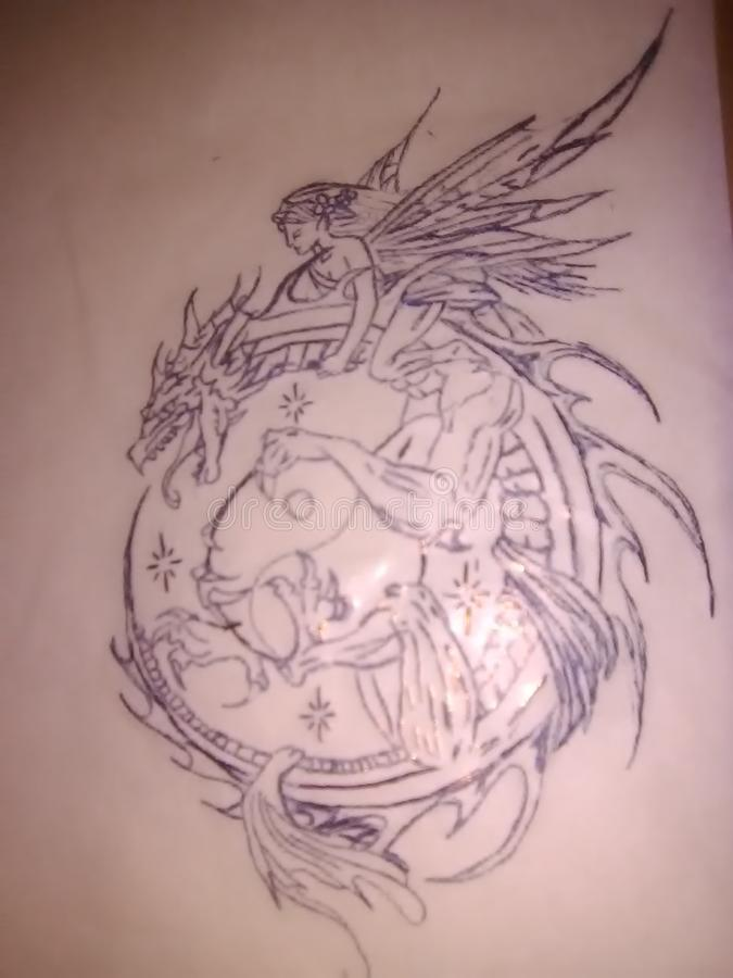 Dragón y hada con Yin Yang fotografía de archivo libre de regalías