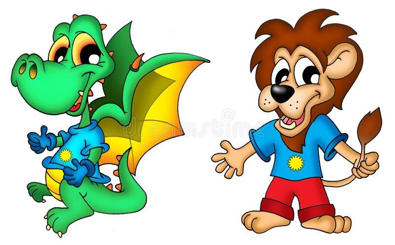 Dragón y león de la historieta ilustración del vector