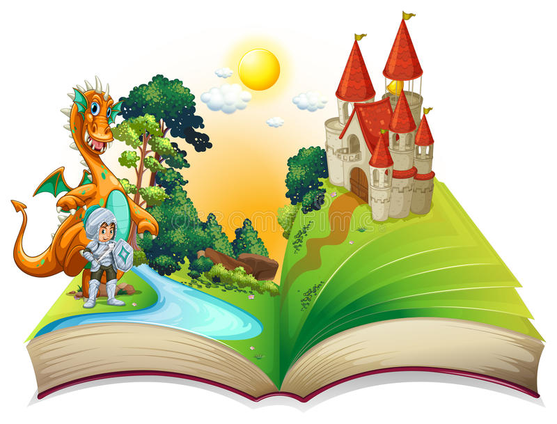 Dragón y libro stock de ilustración