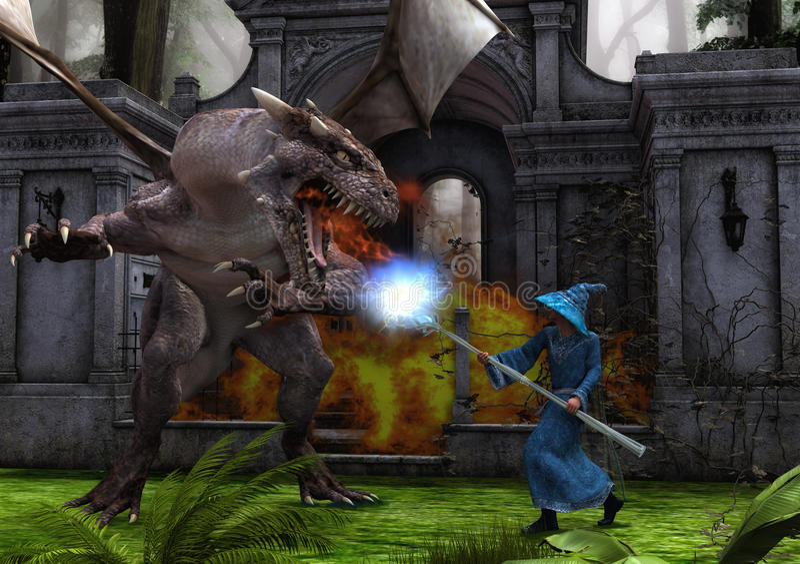 Dragón y mago en batalla imagenes de archivo