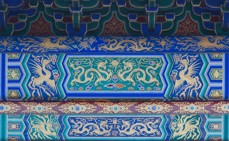 Dragón y modelos de Phoenix en el Templo del Cielo en Pekín foto de archivo libre de regalías