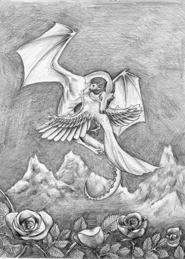 Dragón y Phoenix ilustración del vector