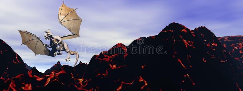 Dragón y volcán stock de ilustración