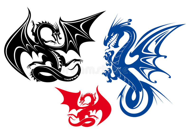 Dragões ilustração royalty free