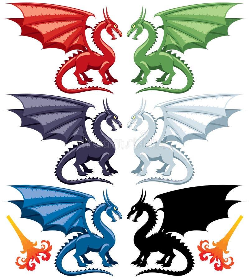 Dragões ilustração stock