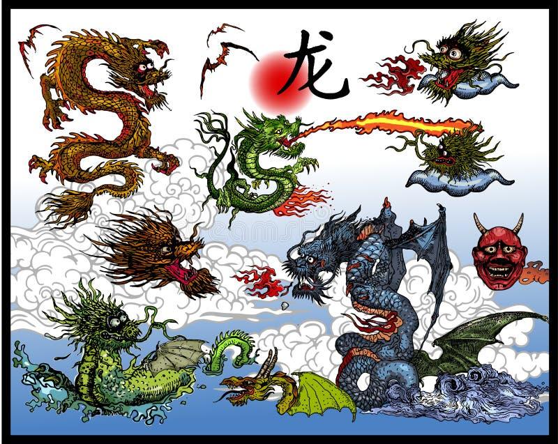Dragões chineses ilustração do vetor