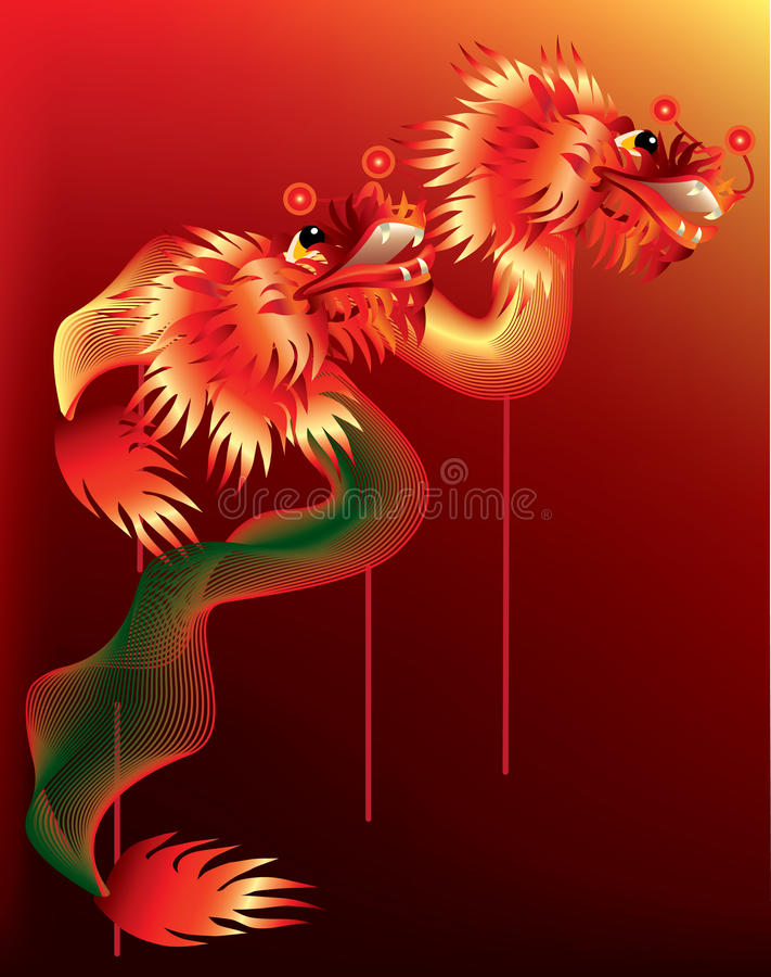 Download Dragões Chineses No Fundo Vermelho Com Pólos Ilustração do Vetor - Ilustração de decoração, mythology: 16850944