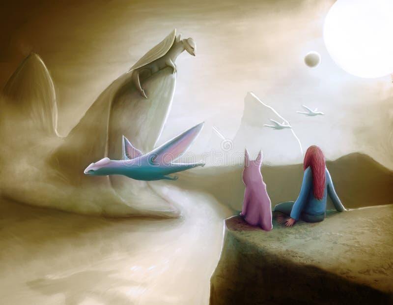Dragões de observação ilustração stock