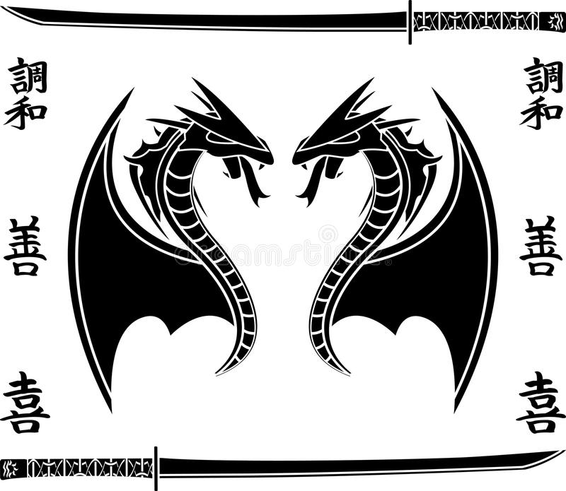 Dragões de vôo japoneses ilustração do vetor