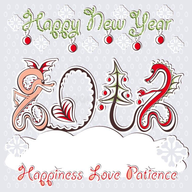 Dragões do ano novo 2012 que cumprimentam o cartão do vetor ilustração stock