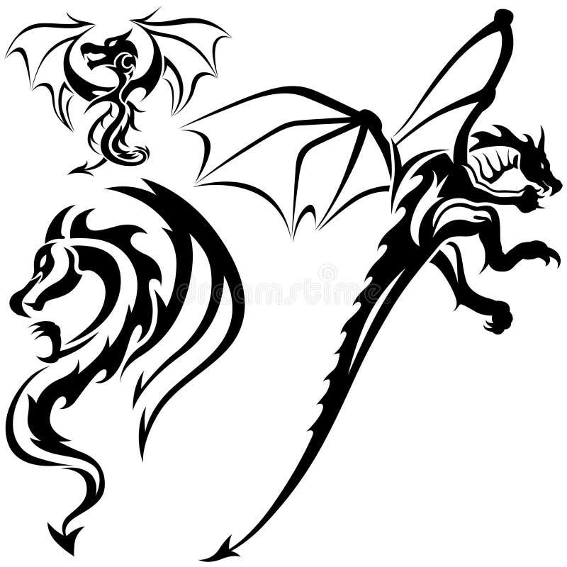 Dragões do tatuagem ilustração do vetor