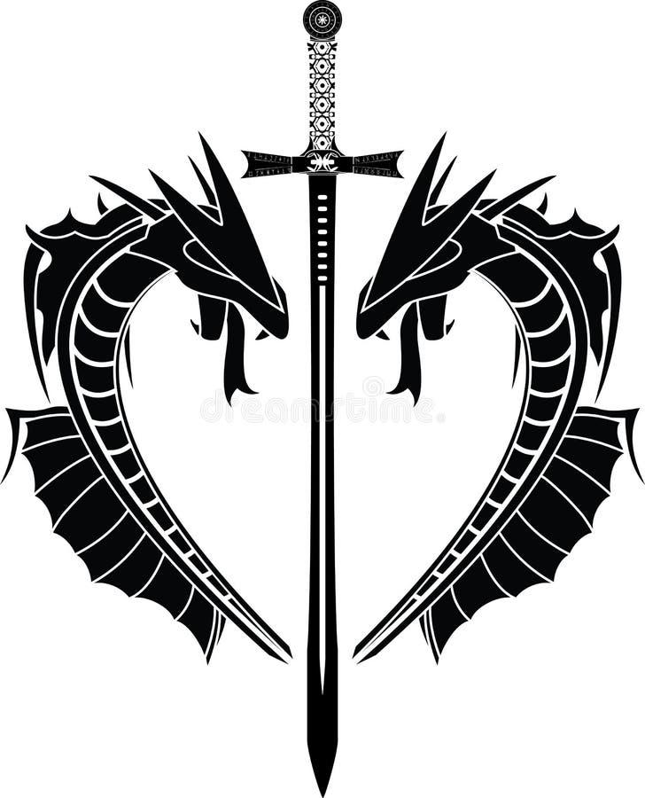 Dragões e espada ilustração do vetor