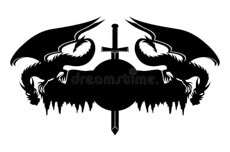 Dragões e espada ilustração royalty free