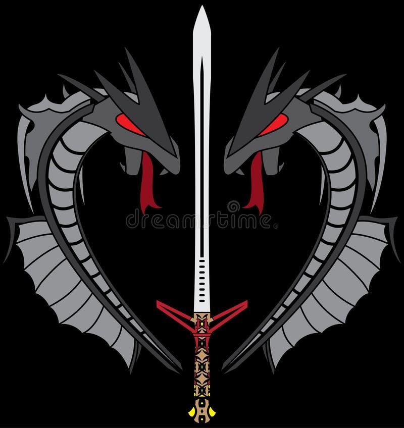 Dragões e espada cinzentos ilustração stock