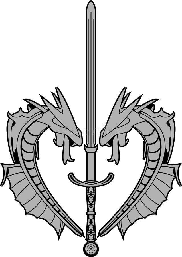 Dragões e espada rúnico ilustração do vetor