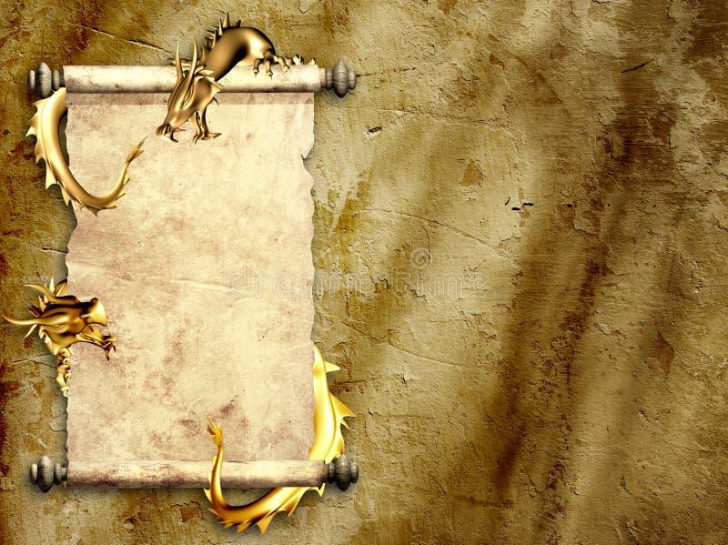 Dragões e rolos do pergaminho velho ilustração do vetor