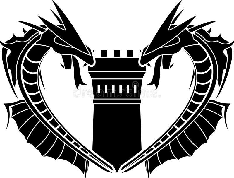 Dragões e torre ilustração royalty free