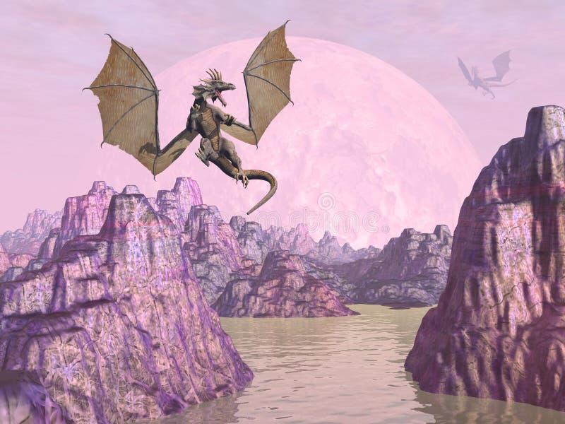 Dragões em cima das rochas - 3D rendem ilustração do vetor