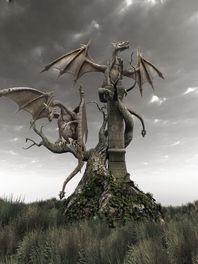 Dragões em uma árvore ilustração do vetor