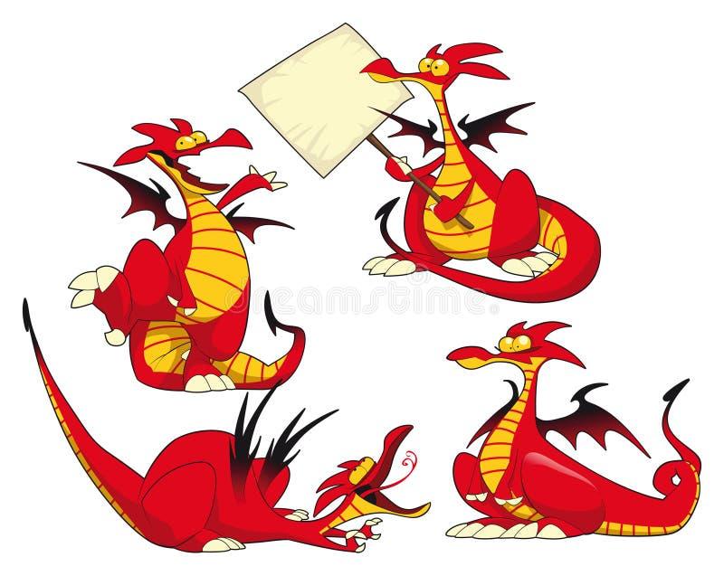 Dragões engraçados. ilustração royalty free