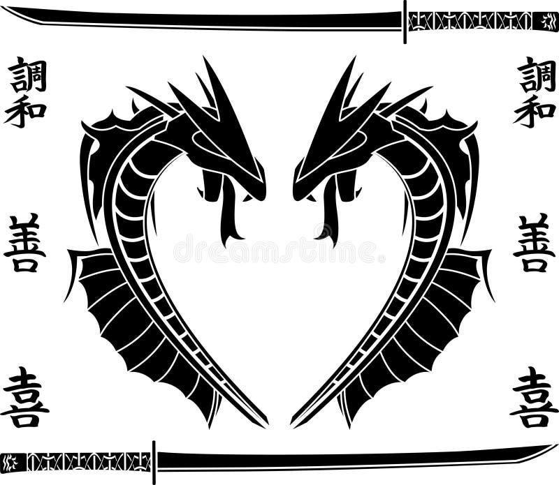 Dragões japoneses do mar ilustração stock