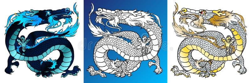 Dragões majestosos coloridos e linha-arte ilustração stock