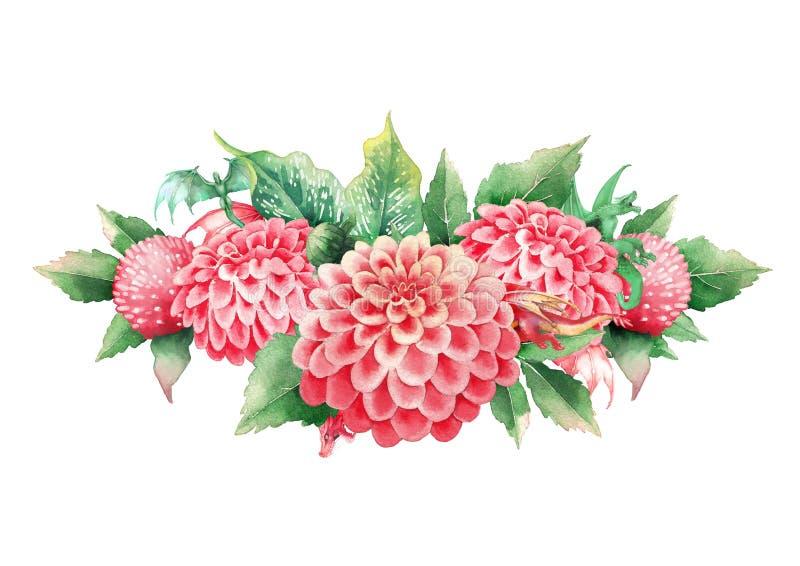 Drag?es min?sculos da aquarela escondidos no jardim dos dalias e das flores do l?rio de calla ilustração do vetor