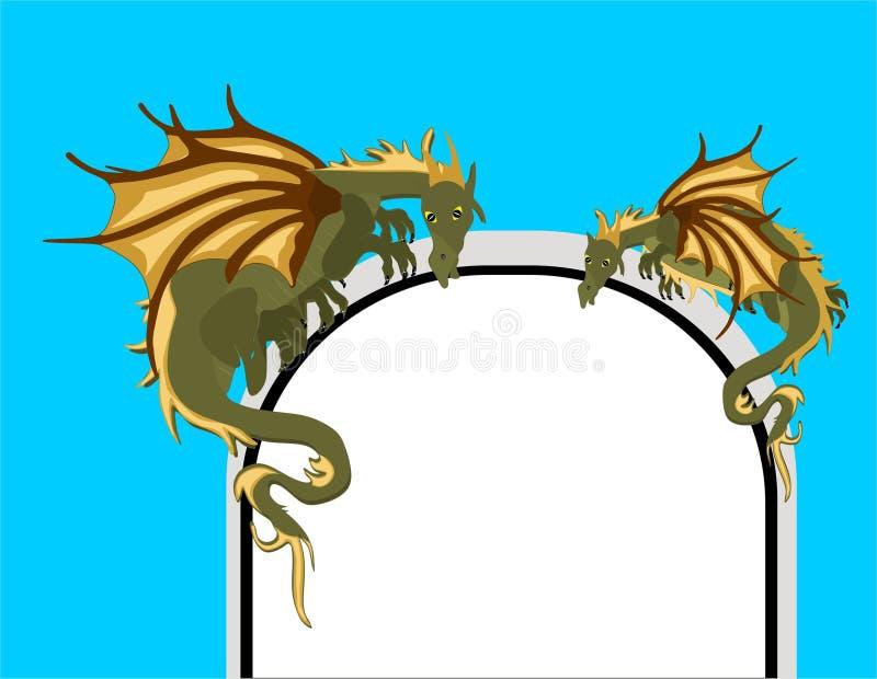 Dragões Mystical no arco da porta. ilustração do vetor