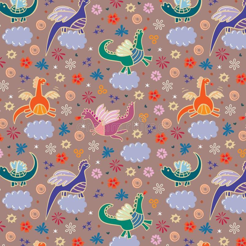 Dragões nas nuvens ilustração royalty free