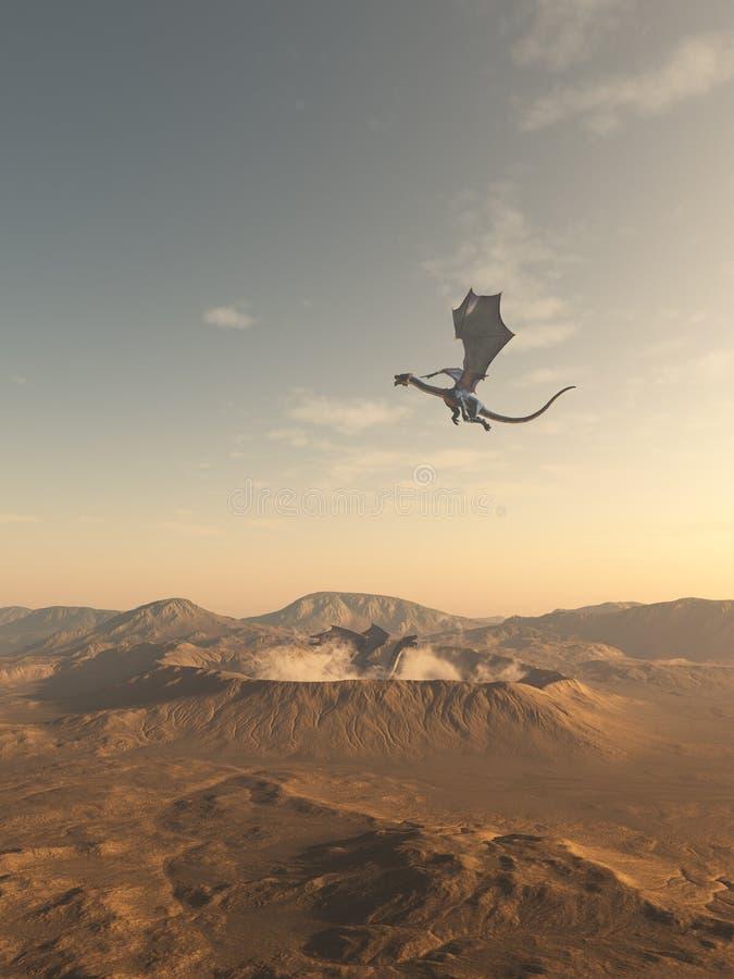 Dragões que voam em torno de uma cratera do deserto ilustração do vetor