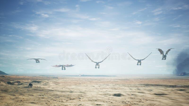 Dragões que voam sobre o deserto vasto rendição 3d ilustração royalty free