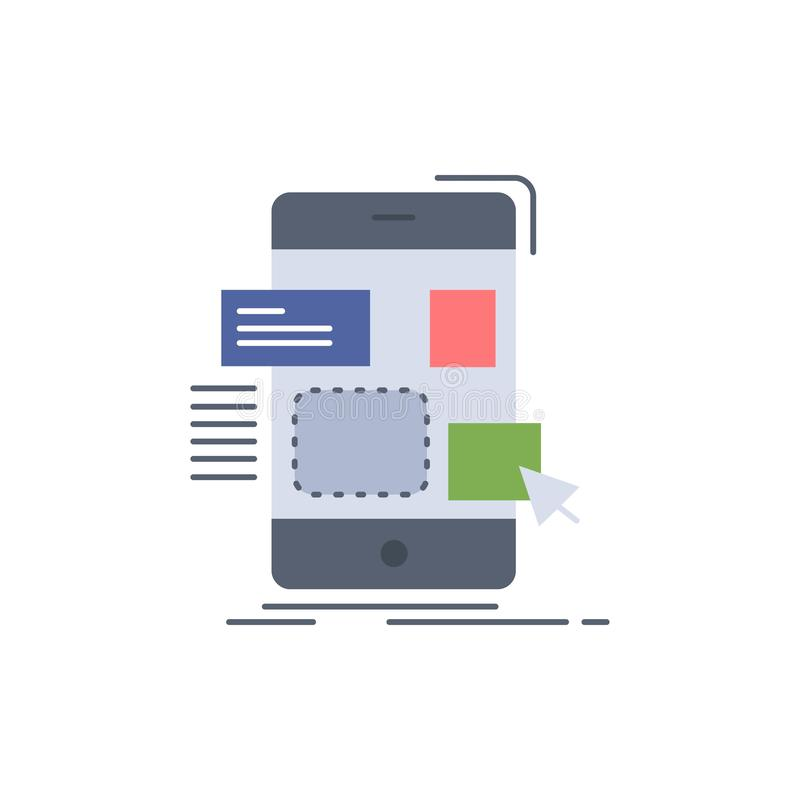 Drag, mobile, design, ui, ux Flat Color Icon Vector vector illustration