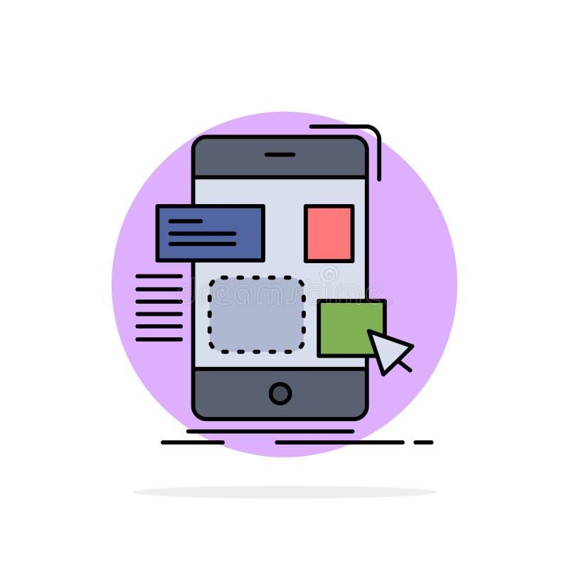 Drag, mobile, design, ui, ux Flat Color Icon Vector royalty free illustration