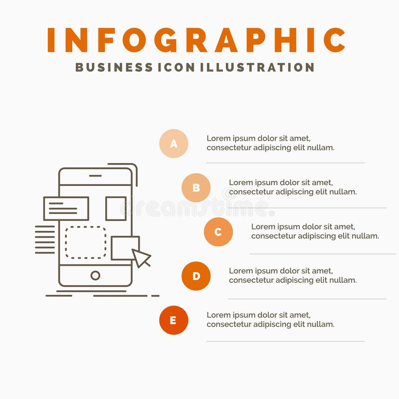 drag, mobile, design, ui, ux Infographics Template for Website and Presentation. Line Gray icon with Orange infographic style stock illustration
