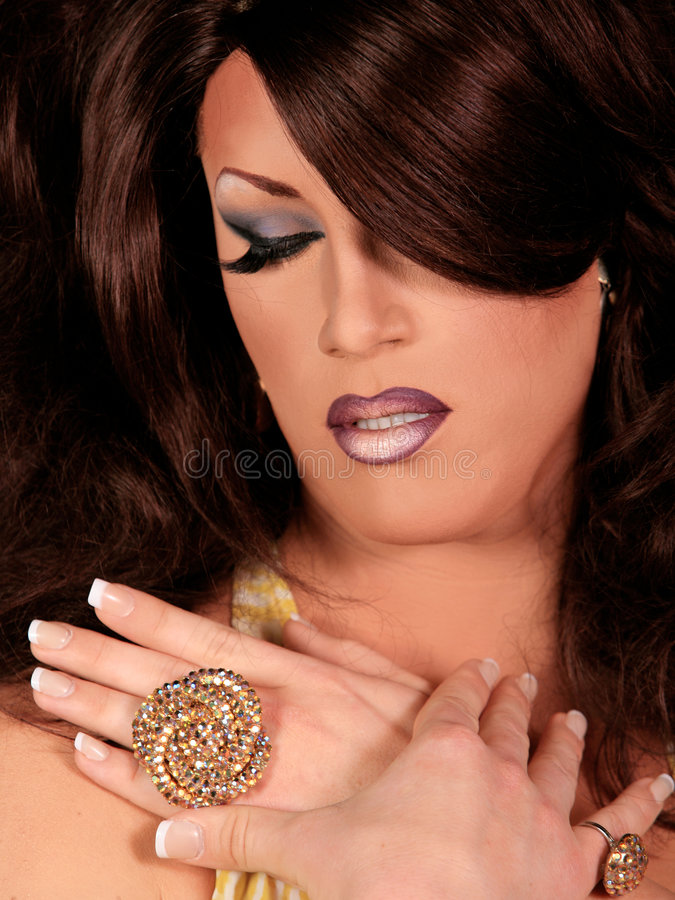 Drag Queen. Man Dressed as Woman with professional Make-up and Hair. High Fashion Drag Queen royalty free stock photo