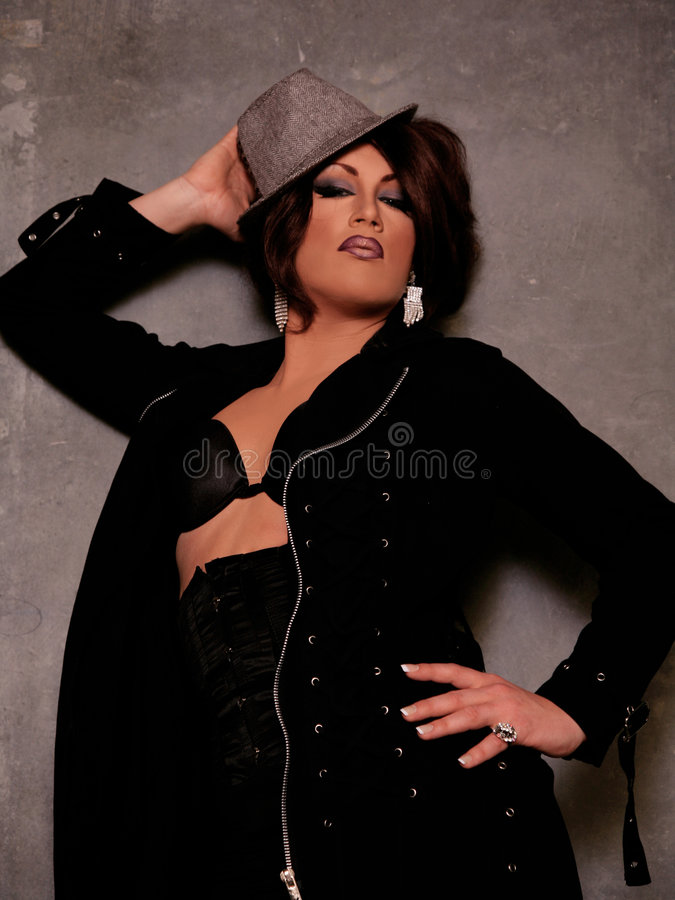 Drag Queen. Man Dressed as Woman with professional Make-up and Hair. High Fashion Drag Queen royalty free stock images