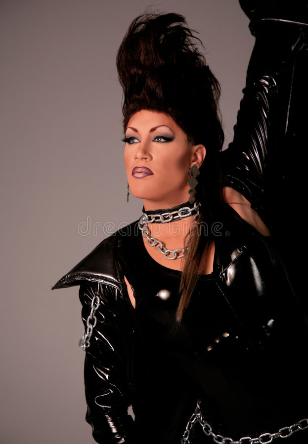 Drag Queen. Man Dressed as Woman with professional Make-up and Hair. High Fashion Drag Queen stock image