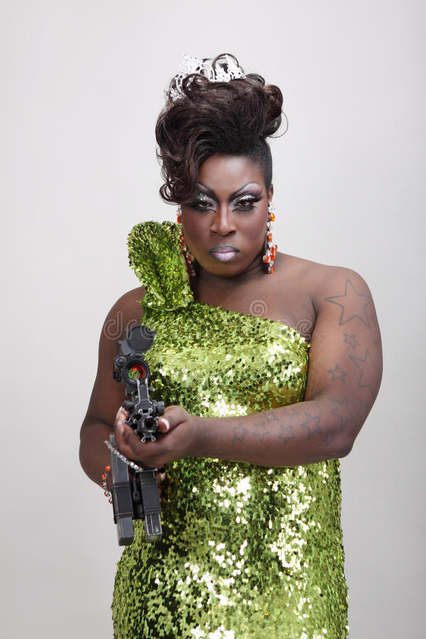 Drag Queen With Gun Stock Photography